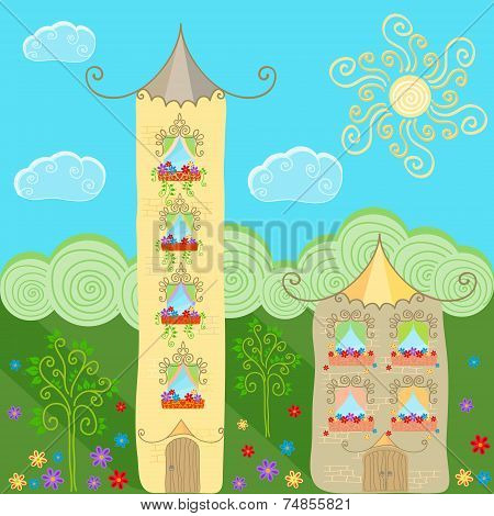 Fabulous Meadow With Cartoon Houses - Towers.