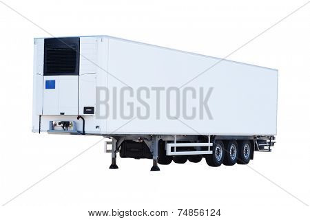 image of semitrailer under the white background