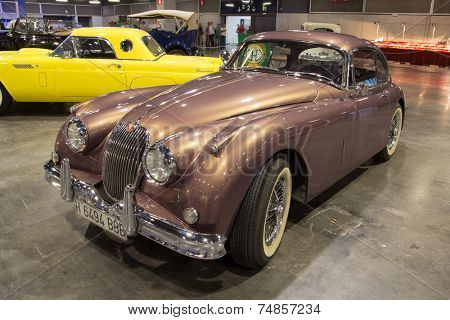 VALENCIA, SPAIN - OCTOBER 17, 2014: A 1960 Jaguar XK 150 at the Retro Auto and Moto Valencia Classic Car Show. The Jaguar XK 150 was produced by Jaguar between the years 1957 and 1961.