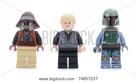 Ankara, Turkey - May 23, 2013: Lego Star Wars Desert Skiff minifigures Luke Skywalker, Boba Fett and Kithaba isolated on white background.