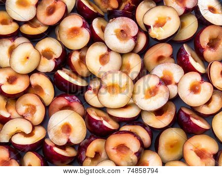 Puple Plums Cut In Halves