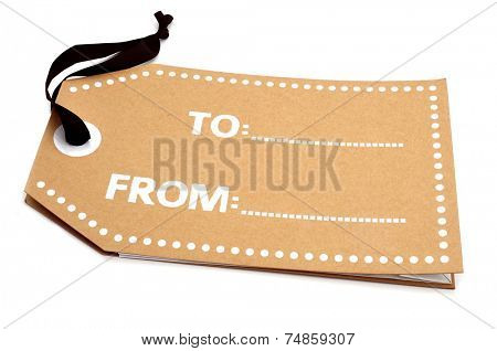 a gift tag with a black string and blank spaces on a white background