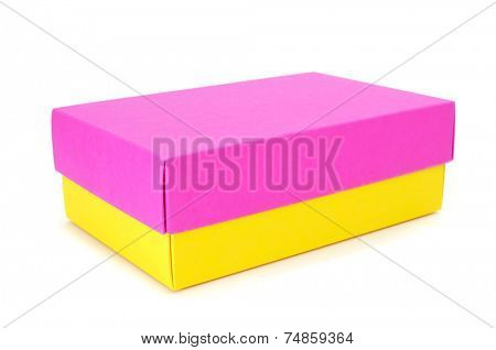 a pink and yellow box on a white background