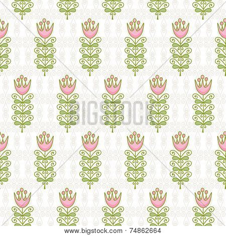 Seamless Pattern Of Abstract Flowers On The Pale Scrolls Of Decorative Elements.