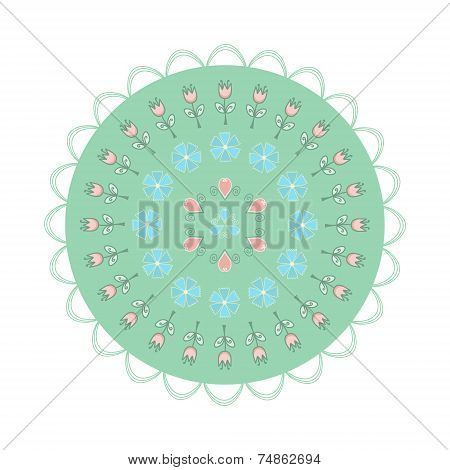 Circle With Decorative Elements And Flowers