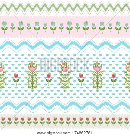 Abstract Seamless Background Of Hand-drawn Flowers Arranged Stripes