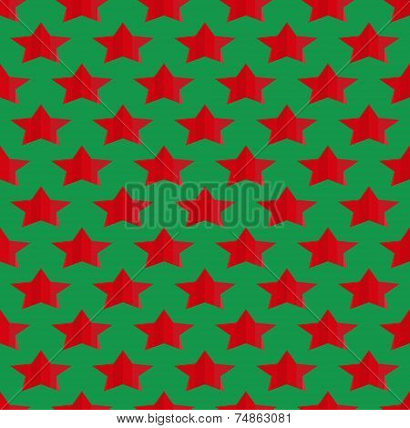 Seamless Geometric Background Of The Stars Of The Red Stripes On The Green