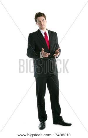 Full Length Suit Businessman Talk Hands Gesture