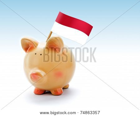 Piggy Bank With National Flag Of Indonesia