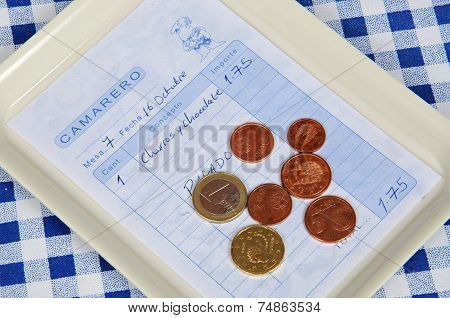 Tapas receipt and coins.