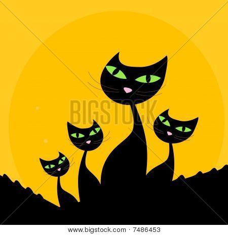 Cat Familie schwarz Silhouette auf orange Hintergrund
