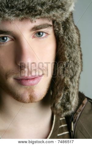 Fur Winter Fashion Hat Young Man Brown Autumn