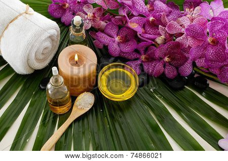 Spa set on palm leaf