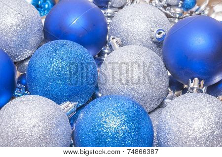 Colorful Blue And Silver Christmas Decoration Balls