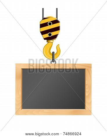 Blackboard Hanging On The Crane Hook