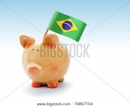 Piggy Bank With National Flag Of Brazil