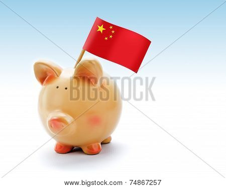 Piggy Bank With National Flag Of China