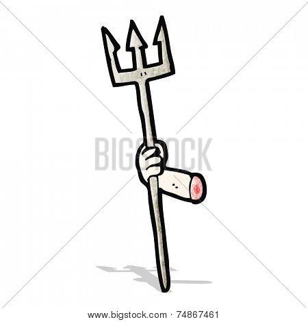 cartoon arm holding trident