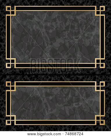 Two Black Marble Backgrounds with Gold Frames, Borders - Aspect Ratios 3:2 2:1 - EPS 10