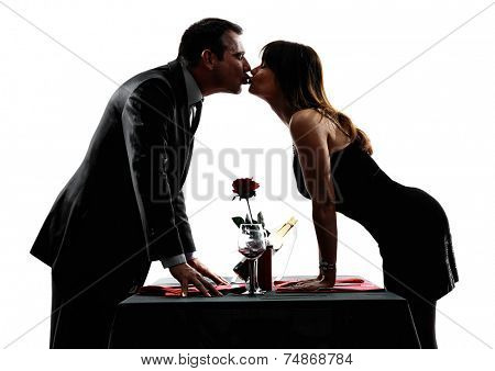 couples lovers dinning kissing in silhouettes on white background
