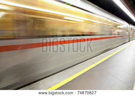 Metro Wagon Hurtling In A Underground Stop