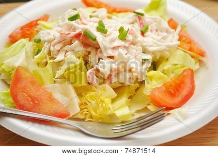 Fresh Appetizing Salad With Imitation Crab Meat