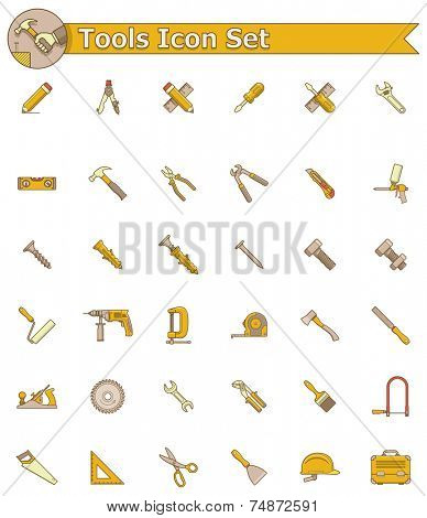 Limited colors set of the working tools icons