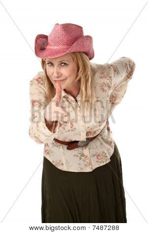 Cowgirl With Pink Straw Hat