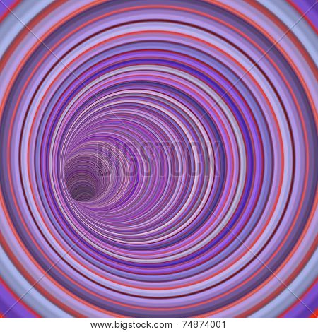 3D Render Tunnel Vortex In Multiple Purple Striped Color