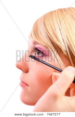 Pretty Woman Applying Make Up.