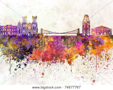 Bristol Skyline In Watercolor Background