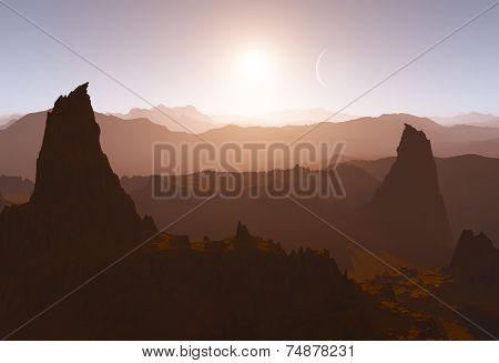 Martian Landscape With Suns And Rock Formations