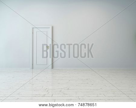 3d Rendering of Simple Single White Door on Plain White Wall, Captured Inside an Empty Building.
