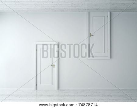 3d Rendering of Conceptual Opposite Simple Style Single Doors on Plain White Wall. One is from Wall to Floor and the Other is from Wall to Ceiling.