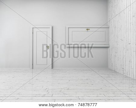 3d Rendering of Conceptual Simple Style White Indoor Doors in Different Directions. Horizontal and Vertical.
