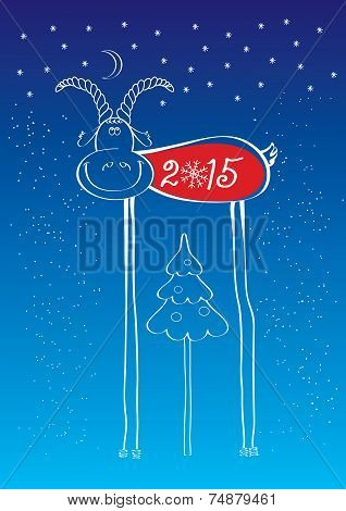 Comedy Goat.vector Illustration Of New Year
