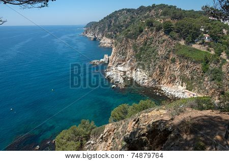 View From Tossa Towards Lloret-de-mar, Costa Brava, Catalonia, Spain.