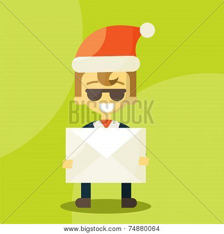 Happy businessman in Santa Claus hat. Letter with good news. Christmas Letters