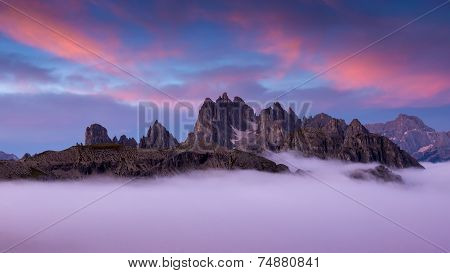 Italy Dolomites - wonderful scenery above the clouds
