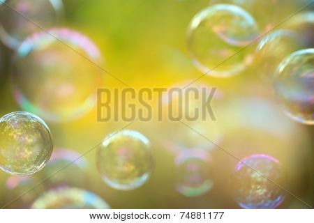 Defocused soap bubbles background