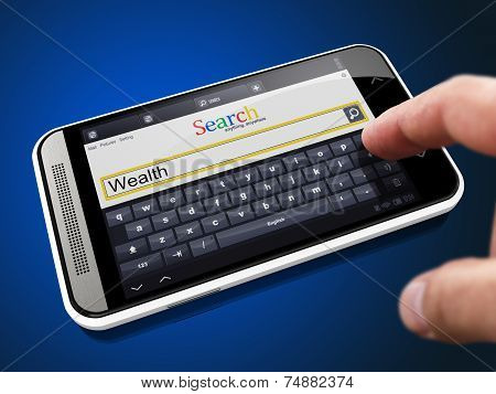 Wealth in Search String on Smartphone.
