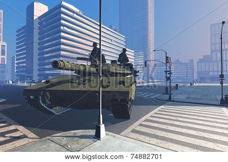Tank with soldiers on the streets of the modern city.