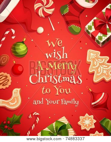 Holiday frame. Christmas card \ poster \ banner. Vector illustration.