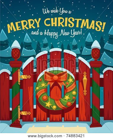Country gate. Christmas card \ poster \ banner. Vector illustration.