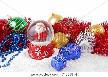 christmas decorate composition with glitter