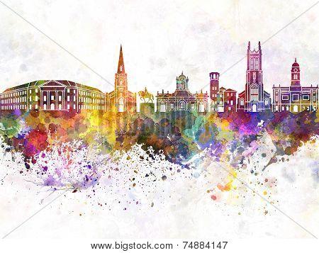 Derby Skyline In Watercolor Background