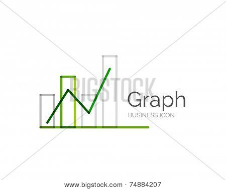 Line minimal design logo, business icon graph