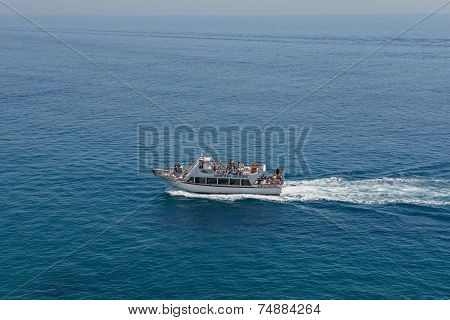 Motor Boat On Bright Blue Background Of Sea Water, Spain.