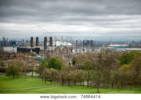 LONDON - April 06: Overview of Greenwich Looking Toward O2 Arena with Cloudy Sky, London, England on April 06, 2014