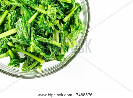 Vegetables Green Kale Are Pieces In A Bowl With Empty Space On The Right